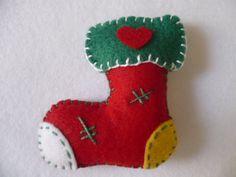 bota feltro artesanal caseira vermelha natal - Google Search