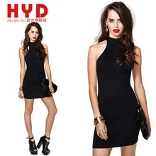 2014 Summer tight backless halter dress O-neck sleeveless package hip short one-piece woman dress HYD(China (Mainland))