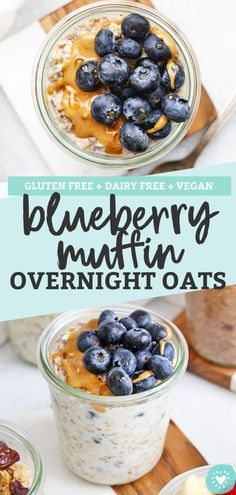 Blueberry Muffin Overnight Oats - Creamy, delicious overnight oats with a blueberry muffin twist. Such a yummy meal prep breakfast! Best Blueberry Muffins, Vegan Blueberry, Blue Berry Muffins, Blueberry Overnight Oats, Vegan Overnight Oats, Mexican Breakfast Recipes, Vegan Meal Prep, Gluten Free Oats, Oatmeal Recipes