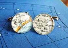 vintage map cufflinks