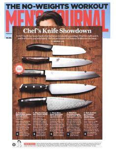 "Weighing in on a few chef's knives for Men's Journal. The winner of the lot: Shun Blue Steel Kiritsuke 10"" knife!"