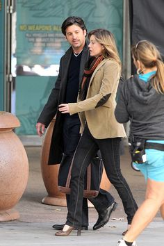 TV Guide Ellen Pompeo and Patrick Dempsey | Patrick Dempsey, Ellen Pompeo, and Sandra Oh on the Los Angeles Set of ...