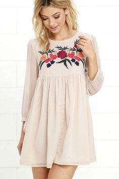 A midday date with your beau calls for the Glamorous Afternoon Blooms Beige Embroidered Babydoll Dress! Woven babydoll dress has three-quarter sleeves. Stylish Dresses For Girls, Stylish Dress Designs, Trendy Clothes For Women, Simple Dresses, Pretty Dresses, Stylish Outfits, Casual Dresses, Girls Fashion Clothes, Fashion Dresses