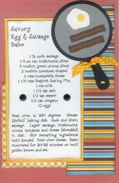 Savory Eggs and Sausage Bake Homemade Recipe Books, Homemade Cookbook, Cookbook Recipes, Cookbook Ideas, Fruit Recipes, Homemade Gifts, Scrapbook Recipe Book, Scrapbook Pages, Page Scrapbooking