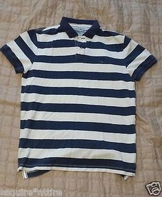 American Eagle Outfitters men size M #POLO shirt white navy blue stripes NEW visit our ebay store at  http://stores.ebay.com/esquirestore