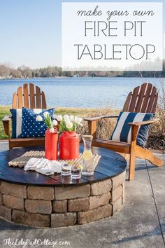 DIY Fire Pit Table Top - great idea to turn your fire pit into a table for extra dining space!