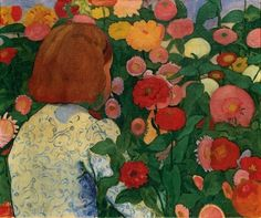 Girl with Flowers, 1896 by Cuno Amiet. Post-Impressionism. genre painting