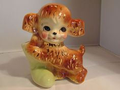 American Bisque Puppy with Boot Planter - Gold Trim
