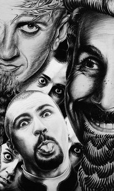 SOAD System Of A Down portraits photoshop collage by Araqs Petrosyan. ink pencil  Serj Tankian, Daron Malakian, Shavo Odajian, John Dolmayan