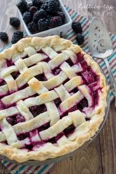 How to make a Blackberry Pie with a lattice top! This easy berry pie recipe with cornstarch can be made with a lattice or a crumble topping, but learn how to make a lattice easily! This is the perfect pie recipe for summer berries. Blackberry Pie, Blackberry Recipes, Kitchen Recipes, Pie Recipes, Dessert Recipes, Fruit Recipes, Summer Recipes, Holiday Recipes, Just Desserts