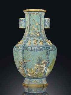 A RARE CLOISONNÉ ENAMEL HEXAGONAL VASE, HU Christie's 2012 auction results QIANLONG PERIOD (1736-1795)