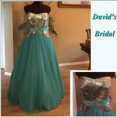 David's Bridal Prom Gown David's Bridal turquoise tulle long prom gown worn once in excellent condition gold,silver & turquoise sequin a beautiful design on top✨with a satin belt and a diamond buckle in the middle just stunningSize 14 David's Bridal Dresses Prom