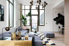Living Area, Living Room, Arc Floor Lamps, Lower East Side, Large Sofa, Swedish Design, Model Homes, Apartment Living, Interior Design