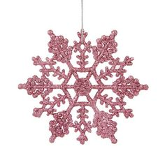 """$7.99-$14.99 Club Pack of 24 Pink Snowflake Christmas Ornaments Item #M101409 24-piece set  Color: bubblegum pink This special club pack will allow you to build your collection quickly and decorate with more possibilities Snowflakes are drenched in sparkling pink glitter  Silver string hangers are included for optional use - they do not come pre-attached  Dimensions: 4"""" diameter  Material(s): pl ..."""