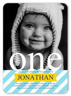 Stripe One Boy First Birthday Invitation