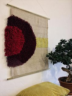 This unique large piece is full of texture and contrast tones & materials, hanging from a yellow metal pipe mm. 69 cm W 82 cm H Weaving Art, Loom Weaving, Tapestry Weaving, Hand Weaving, Metal Pipe, Tear, Tapestry Crochet, Woven Wall Hanging, Weaving Techniques