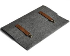Macbook 13 Air cover case grey synthetic felt brown leather straps handmade by SleeWay
