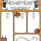 newsletter to send home to the students parent for the month of November. Preschool Newsletter Templates, Classroom Newsletter Template, Preschool Assessment Forms, Preschool Director, Preschool Education, Preschool Ideas, Montessori, Class Newsletter, Word Work Activities