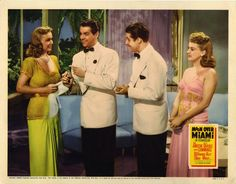 Lobby card for Moon Over Miami (1941) starring Betty Grable, Don Ameche and Robert Cummings.