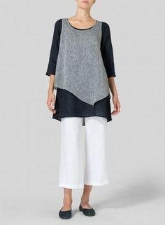VIVID LINEN - Linen Double-Layer Wrap Top