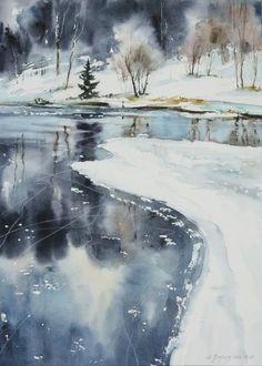 Breathtaking Winter Watercolor || Maria Ginzburg: #watercolorarts