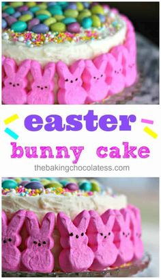 Easy To Decorate Easter Bunny Cake - Look at those Peeps! Easter Bunny Cake, Easter Treats, Easter Snacks, Easter Food, Easter Cupcakes, Easter Cake Easy, Bunny Cakes, Easter Pie, Bunny Birthday