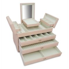 Keep your jewelry organized with this Morelle Sophia Large Jewelry Keep. Large and spacious, this jewelry box has three drawers with different sized compartments as well as a fold out top level provid Jewelry Box Store, Musical Jewelry Box, Diy Jewelry, Jewellery Storage, Jewelry Organization, Jewellery Box, Necklace Storage, Organization Ideas, Jewelery