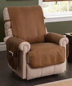 Another great find on #zulily! Cognac Faux Leather Memory Foam Recliner Protector #zulilyfinds