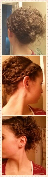 Braided updo with curls- my hair