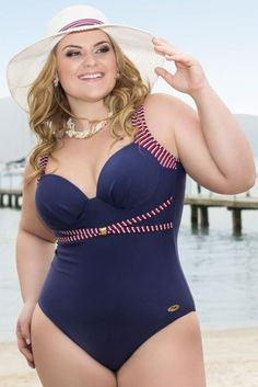 """Bañador de inspiración naviera. Para mujeres con curvas. --- """"Maiô Acqua 126642 - VK Moda Plus Size"""""""