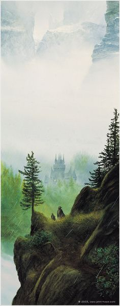 "John Howe - Descent into Rivendell. One of my fave artists. I have a couple of his ""how-to"" art books."