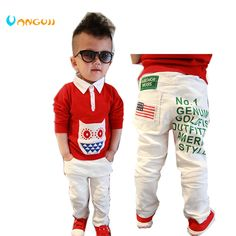 2016 autumn and winter hot boys fashion jeans printing letters United States flag labeling child pants