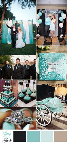 Tiffany blue ties on all black looks very classy... Wedding Colors For August, Blue Wedding Themes, Wedding Colors Teal, Colors For Weddings, Rustic Turquoise Wedding, Turquoise Weddings, Wedding Blue, Plan My Wedding, Wedding Color Schemes