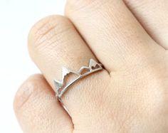 925 Sterling Silber Berg verstellbarer Ring-925 von VermeilSupplies