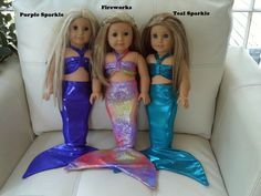 Beautiful American Girl doll mermaid outfit in shimmery, sparkly, spandex fabric!    Handmade with tail stiffener to make it realistic!    Also