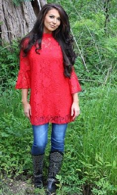 The It Girl Red Lace Dress Tunic Feminine Design Cocktail/ Party Occasion - 3X #SCC #Tunic #Casual