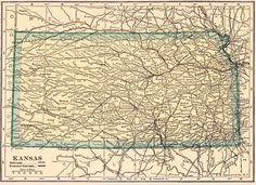 Vintage 1923 Kansas Us Map 1923 Original Print Neat Collectible Atlas Map Wall Art Gallery Print Fw39