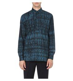 DRIES VAN NOTEN Cloyd tie-dye cotton shirt - grid structure