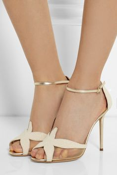 Charlotte Olympia Sandrine bead-embellished leather sandals NET-A-PORTER.COM