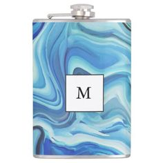 Trendy Marbel Colorful Acrylic Blue Art Hip Flas Hip Flask - decor gifts diy home & living cyo giftidea