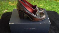 $168.00 TOMMY HILFIGER  Womens Ox Blood Leather Penny Loafer Heels Pumps Sz 8.5M #TommyHilfiger #PumpsClassics #Formal