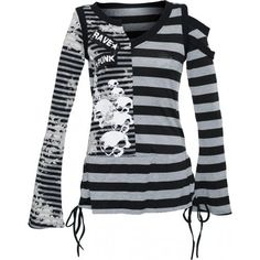 A black and gray striped long-sleeve top by gothic clothing brand Punk Rave, asymmetrical design with skull print and grungy details.