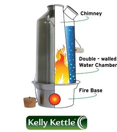 Kelly Kettle Ultimate Aluminum Medium Scout Camp Stove Kit. The Perfect Camp Stove for Cooking, Hiking, Camping, Kayaking, Fishing, and Hunting. Boil Water, Cook Fast, Survive.