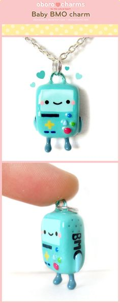 Robot polymer clay charm or pendant. turquoise. Bebé BMO Charm por Oborochann