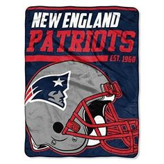NFL Patriots Theme Blanket 46 x 60 Blue Red Football Themed Sofa Throw Sports Patterned Team Logo Fan Merchandise Athletic Team Spirit Fan Soft Snuggly Polyester