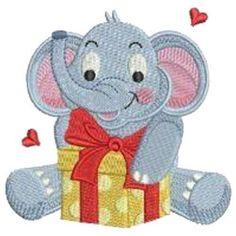 Baby Elephants machine embroidered quilt blocks