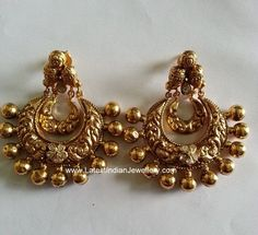 The beautiful antique gold chandbali earrings in nakshi work with the charming dull finish and workmanship in combination with few polki diamonds Pearl Necklace Designs, Jewelry Design Earrings, Gold Earrings Designs, Gold Jewellery Design, Ear Jewelry, Gold Jewelry, Indian Wedding Jewelry, Bridal Jewelry, Antique Earrings