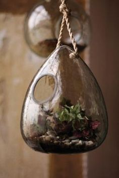 """This gorgeous glass bird feeder can also be used as a terrarium. Hang inside or out!Made in the Philippines.7.5"""" x 9""""t"""