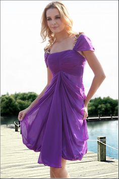 Cap Sleeve Plum Bridesmaid Dresses