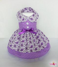 Adorable dress has a double layer skirt and double layer lavender tulle, giving the skirt a beautiful full look. Variety of sizes for both big and small dogs. Hand made in the USA. (dog clothes, dog dress, wedding attire)